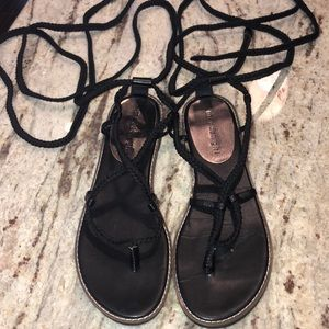 Black madden girl tie up sandals